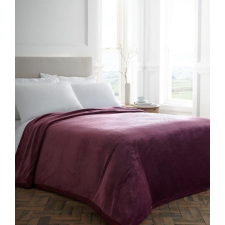 Berry Plush Blanket With Satin Trim