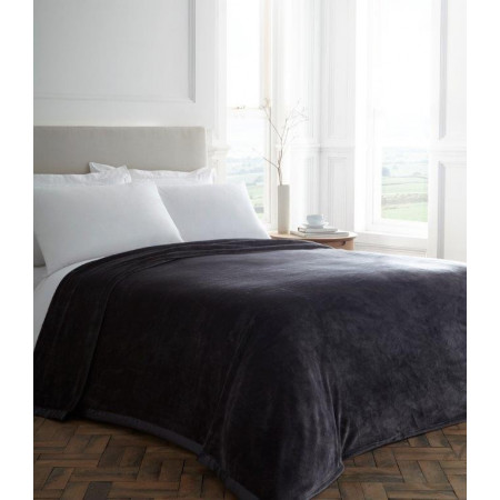 Charcoal Plush Blanket With Satin Trim
