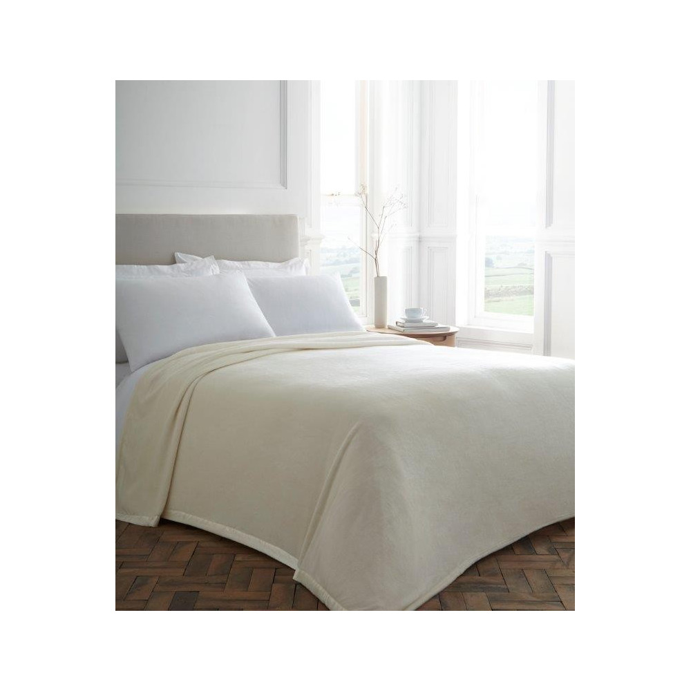 Cream Plush Blanket With Satin Trim
