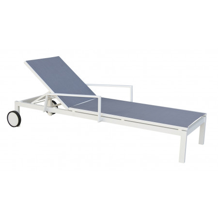 York Sunbed in White/Silver